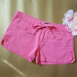 Pants - pink linen shorts